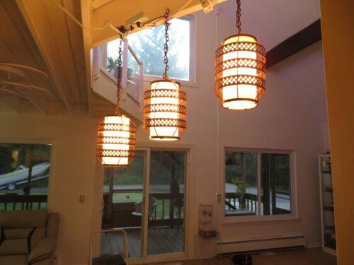 3 Vintage Mid Century Modern Cascading Ceiling light fixtures MCM Lamps