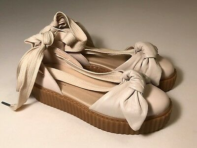 Puma Fenty Creeper Rihanna Beige Leather Oatmeal Bow Accent Sandals Women 8, EUC
