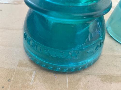 Lot Of 3Vintage Antique Pre 1933 Hemingray 42 Aqua Blue Green Glass Insulators - $40.00