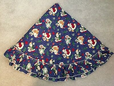 """Christmas tree skirt navy blue Santa quilted 48"""""""
