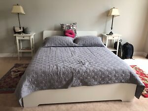 Complete bed with side tables and lights