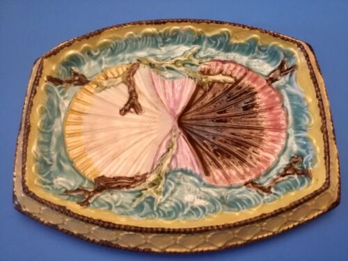 Antique Wedgwood Majolica Shells & Seaweed On Waves Platter c.1800