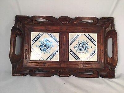 Vintage Wooden Hand Carved Ceramic Blue Tile Serving Tray Wood Handles Handmade