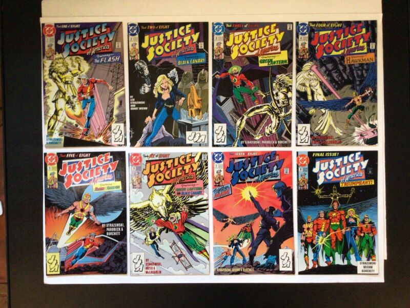 JUSTICE SOCIETY #1-8 COMPLETE~1991 DC~1ST SERIES~BEAUTIFUL BAGGED/BOARDED NM LOT