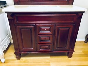 Solid Wood Vanity, factory price, with marble countertop & sink