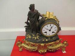 Antique French Bronze- Metal  Figural mantel Clock Circa 1890-1910  works
