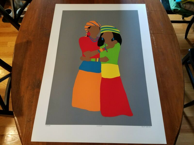 """""""Sisters"""" Ethnic Art Expressionism Synthia Saint James limited edition signed"""