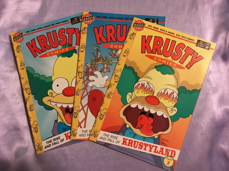 KRUSTY COMICS #1,2,3~SET~THE SIMPSONS~BONGO 1995~MATT GROENING/BART/HOMER~NM/NM+