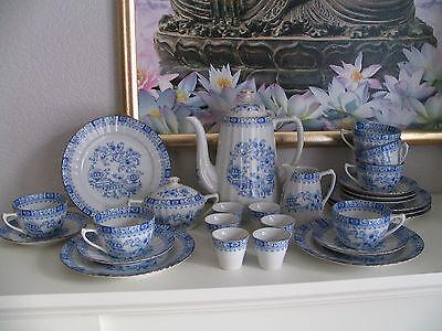 Seltmann Weiden Kaffee-Tee- Service Dorothea Porzellan China Blau 6Pers. 27 tlg.