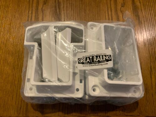 T-Rail Straight Brackets Great Railing Vinyl Colonial Railing White Set of 4 New