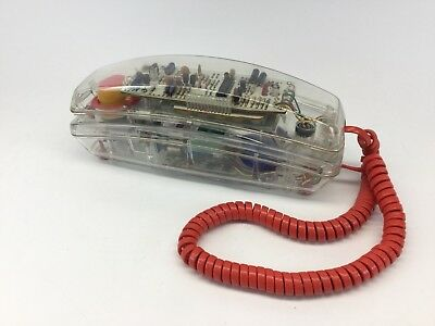 Lonestar Clear Push Button Wall Desk Phone Model #911 1990s. Untested Sold As Is