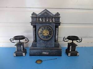 Huge Antique French 19th century black marble  working clock Armidale Armidale City Preview