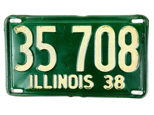 Illinois 1938 Antique License Plate Old Vintage Man Cave Shorty Collector Decor