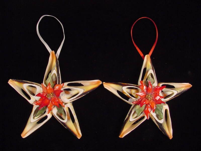 Christmas tree ornament seashell strombus with gar poinsettia