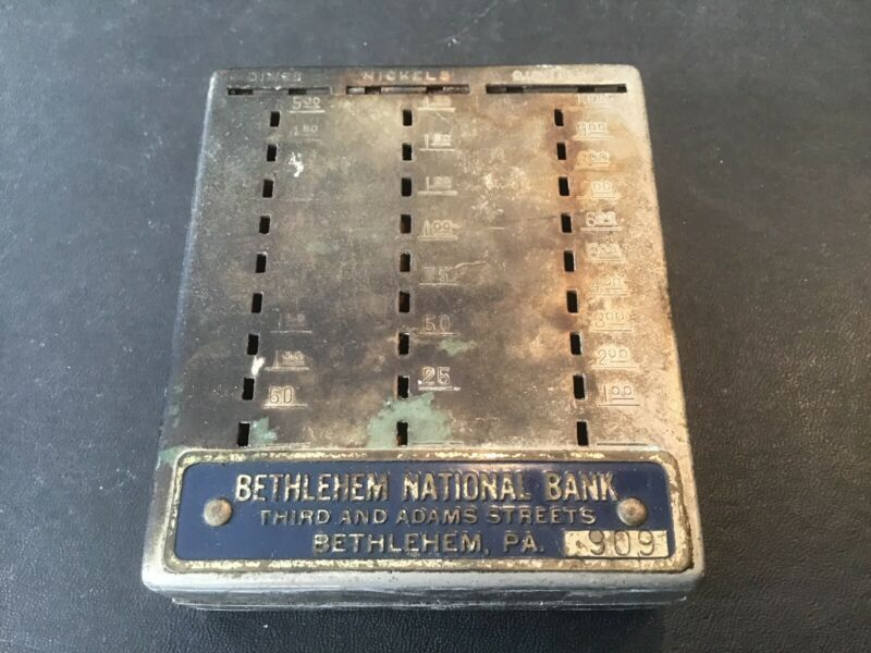Bethlehem National Bank Bethlehem PA Vintage Metal Coin Bank No Key Free Ship