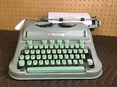1960's HERMES 3000 Seafoam / Mint Typewriter Cursive Type Switzerland w/Case
