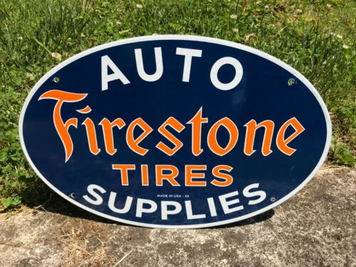 """""""FIRESTONE TIRES"""" PORCELAIN ADVERTISING SIGN (DATED 1953), 16""""x 11"""" NEAR MINT"""