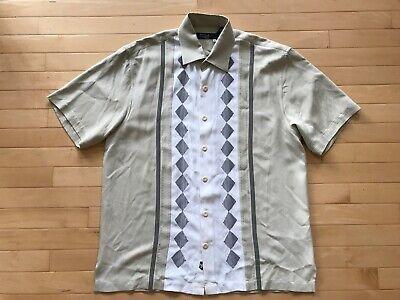 deb3111c NAT NAST Mens 100% Silk Retro Style Bowling Shirt Black Tan Sz M Charlie  Sheen