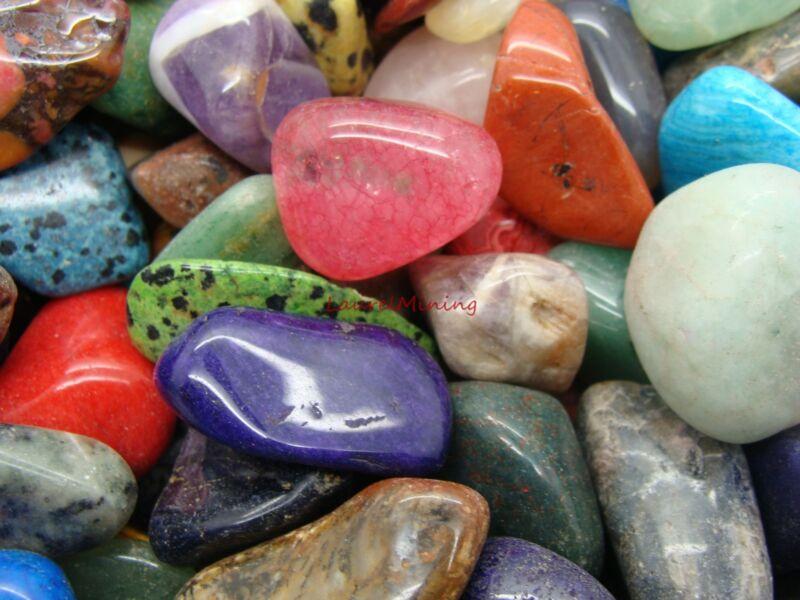 Size #6 - XLarge Tumbled Polished Gemstones - 2000 Carats Lots - Colorful Mix