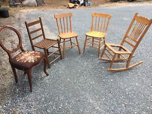 antique chairs and rocker