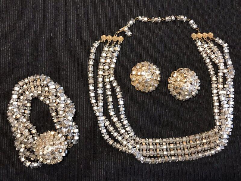 Vintage Unmarked Miriam Haskell Clear& Gold Crystal Choker Bracelet Earring Set