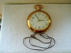 Vtg United Clock Corp.Model No.370 Pocket Watch Shaped Wall Clock  BEAUTIFUL
