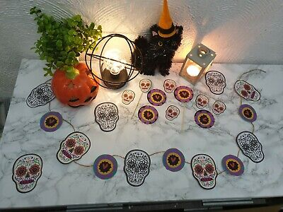 Sugar Skull Candy Cake Toppers and Banner Bunting Garland.