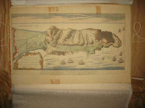 ANTIQUE MAP PLAN OF THE TOWN AND FORTIFICATIONS OF GIBRALTA, HAND COLORED
