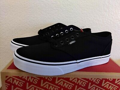 NIB Vans Men's Atwood Canvas Shoes Sneakers Skate, Black/White Size 8 NEW