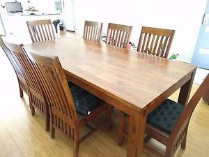 Contemporary solid timber dining table with 8 matching chairs Balcatta Stirling Area Preview