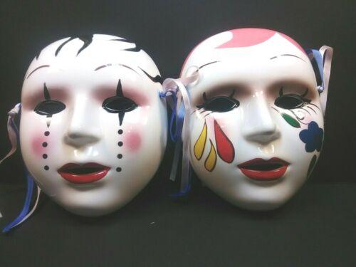 Asian Ceramic Clay Masks Wall Decor Feminine Clowns Hand Painted Vintage NOS