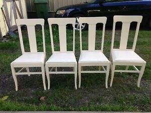 Set of 4 Vintage Hardwood Chairs in Good Sturdy Condition