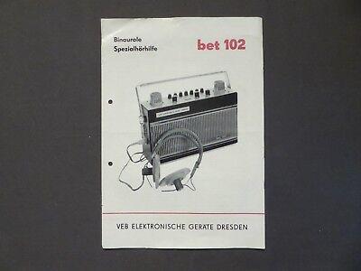 Bedienungsanleitung Binaurale Spezialhörhilfe bet 102, Dresden DDR 1972