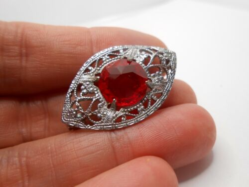 ANTIQUE ART DECO RED GLASS FILIGREE BROOCH PIN