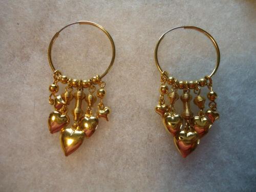 Vintage/nos gold tone tassel Heart charm hoop earrings