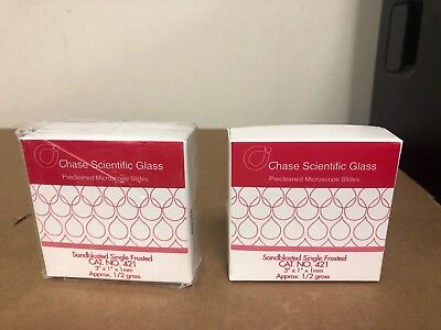 Chase Scientific Glass 421 Sandblasted Single Frosted Microscope Slides Lot Of 2