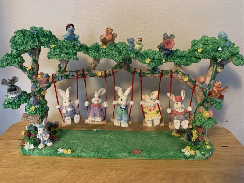 "Jaimy Easter Jubilee Swinging Bunnies  Spring Decor 16x9"" Orig Box No Damage"