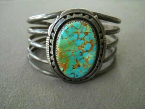 WILL DENETDALE Native American Pilot Mountain Turquoise Sterling Silver Bracelet