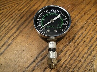Vintage 2 Dial Steel Case Pressure Gauge 0 To 180psi 0 To 12 Kgcm2