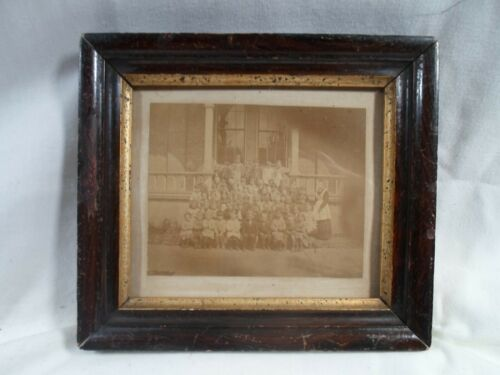 antique  picture frame, photo of group of children,   5.5 by 6.5 inches, # 1744
