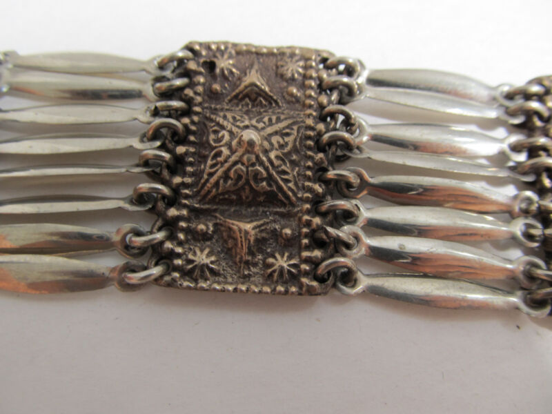"""Art Deco Mixed Metal Hallmarked Mexico Sterling 7 1/2"""" x1 1/4""""  Bracelet 56.1gr."""