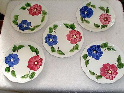 "Vintage Set 5 HERITAGE WARE PLATES STETSON 6"" Floral Hand Painted  Underglaze"