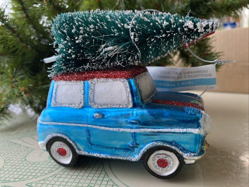 BLOWN GLASS WOODY BLUE STATION WAGON CAR CHRISTMAS ORNAMENT BRING HOME TREE NWT