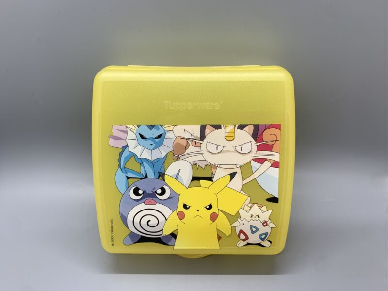 VINTAGE 2000 POKEMON TUPPERWARE YELLOW SANDWICH KEEPER New Never Used