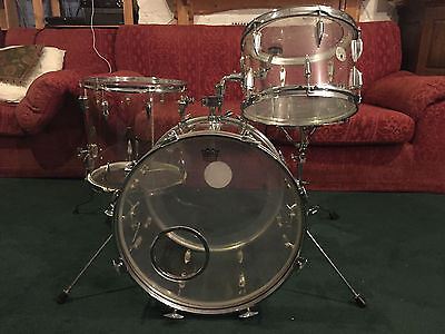 """Royal Star (pre-Tama) 1970's clear acrylic """"Crystar"""" drum kit with accessories"""