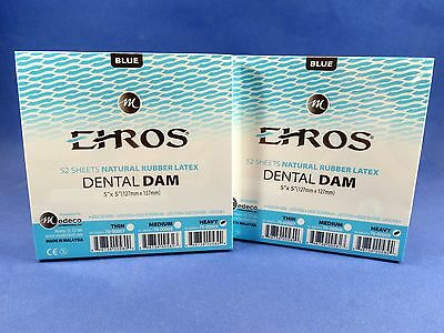 Dental Natural Rubber Dam Blue 5 X 5 Heavy 104 Sheets Total Latex Ehros