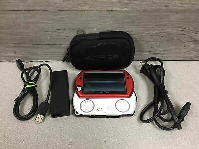 Sony Playstation Portable Go Video Game Console PSP-N1001 White Red Case Tested