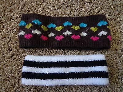 Women's C.C. exclusive brand EUC washable sweatband/headband (2) brown w/hearts
