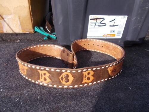 "Vintage Distressed Stamped Tooled Leather Western Belt Cowboy BOB Sz 30 32  38"""