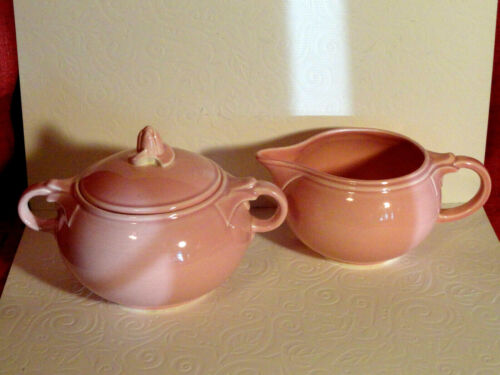 VINTAGE LURAY PASTELS CREAM & SUGAR BOWL PINK.